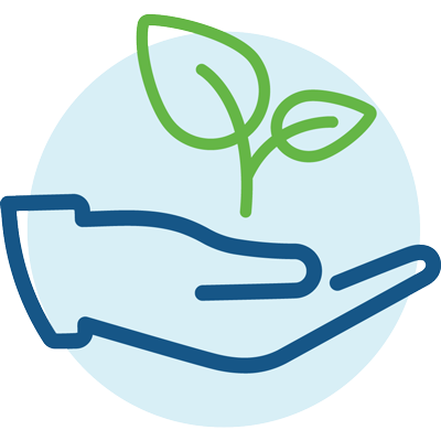 hand holding sprout icon