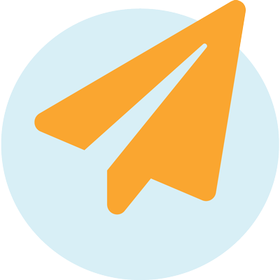 orange paper airplane icon