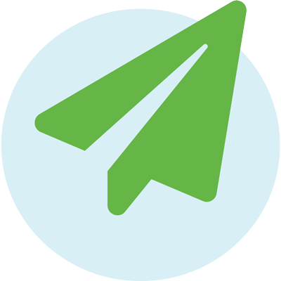 green paper airplane icon
